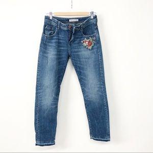 Zara Floral Embroidered Boyfriend Distressed Jeans